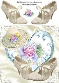 Pretty sun hat and vintage bow shoes with roses 8x8 on Craftsuprint - Add To Basket!