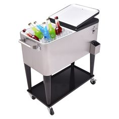 Patio Cooler Rolling Cart Outdoor Portable Stainless Steel Ice Beverage  Chest Pool