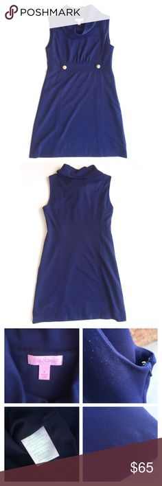 Lilly Pulitzer Navy Blue Knit Cowl Neck Tank Dress Beautiful dark blue sleeveless dress with a cowl neckline, gold anchor buttons at the empire waist detail, and soft lining. It is a heavier knit material with stretch and a side zipper with hook and eye closure. There is some light wear with pilling under the arms and on one portion of the hem as pictured. This is not noticeable when wearing but only up close.  Feel free to make an offer! Lilly Pulitzer Dresses Mini