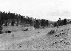 [Rural schoolhouse]. Location unknown. View of log school building with flagpole and flag at side. Outbuildings in background. Automobile and two children in front. Vintage negative number : (no number).  [Between 1910-1930] Photographer: L.A. Huffman. Catalog # 981-927