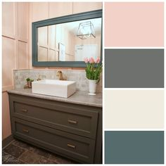 Ladies Restaurant Bathroom Color scheme from Voice of Color PPG! Beautiful bathroom makeover featuring Chic Peach, Juniper Berry and Macaroon Cream paint colors by PPG Voice of Color!