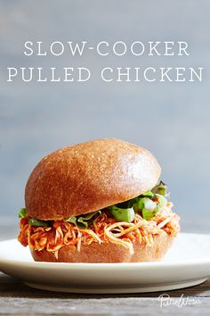 Slow-Cooker Pulled Chicken via @PureWow