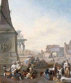 Johannes Lingelbach - Piazza del Popolo in Rome.