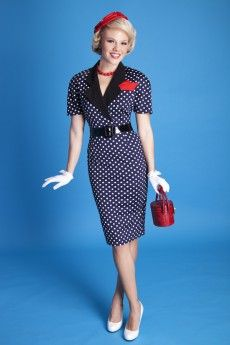 Laura Pencil Navy $ 76 Laura pencil is a fabulous business or play dress! This dress is made of a soft-stretch jersey material. Comes in navy/white polka dot. Features solid collar with polka dot short sleeve dress, breast pocket with handkerchief and wide matching belt. This dress runs larger, please order a size down. Also available in circle.