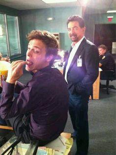 Silly on set (Matthew Gray Gubler & Joe Mantegna)