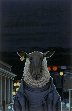 Zwart schaap / Black sheep -   30 x 19,5 cm -  acrylverf op papier / acrylic on paper - 2015 -    verkocht / sold