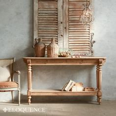 Eloquence Avignon Console Table in Pale Natural Bleached Oak Finish