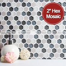 azulejos de cerámica de cristal hexagonal y mosaico de mármol mezcla MM mosaico…