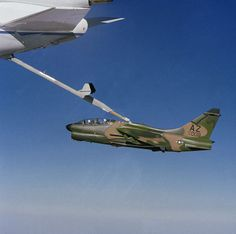 A Vought YA-7K Corsair II refuels over Edwards Air Force base in California in 1982. Notice the pitch of the Corsair. Image Credit: Camera Operator: Harrison, USAF