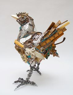 Barbara Franc sculptor using recycled metals including tin and copper to make unique artworks inspired by animals and the human form. Mixed Media Sculpture, Bird Sculpture, Animal Sculptures, Metal Sculptures, Abstract Sculpture, Bronze Sculpture, Found Object Art, Found Art, Affordable Art Fair