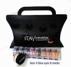 Itay Mineral Makeup Eye Shadow 8 Stacks Shimmers Color: 'Best 4 Blue'eyes   Travel Size Foundation Mf-4 Golden Nutmeg   Box *** See this great product.