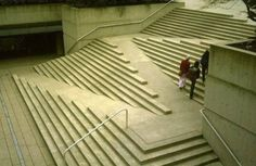 This magical ramp/step mash-up looks interesting but there aren't enough handrails for safety. - I do wish they had said where this is. // apparently the entrance to Robson Square, a landmark public plaza in Vancouver, British Columbia.