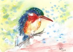 Free Shipping Kingfisher Watercolor Bird Original Art  Wall Art Blue Bird art Wall Decor Impressionistic watercolors Small Bird painting by ArtbyAshaa on Etsy