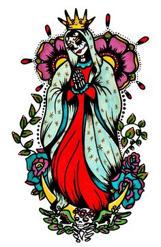 day of the dead art virgin mary tattoo