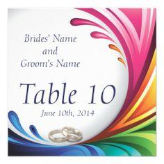 Elegant Swirling Rainbow Splash Table Card  Rainbow Splash & Wedding Rings Matching Wedding Set #lgbtq #gaymarriage #gaywedding