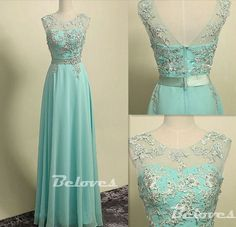 """Fabric:Chiffon Neckline:illusion+Neckline Color:+Light+Green Silhouettes:+A+Line Embellishments:Lace+Appliques Back+Detail:Zipper+Back Occasion:+Prom+,Evening,Cocktail++++++ Custom+Made+:+We+also+accept+custom+made+size+and+color+.+Please+click+the+""""contact+us+""""and+send+your+size+and+color..."""