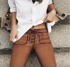 Jeans: lace up trousers, leather, boho pants, pants, suede, brown, summer, skin, lace up, ribbon, fashion, autumn, fall outfits, orange, fake suede, faux suede, suede pants, lether, soft, boho, bohemian, bohemian pant, bohemian pants, sexy - Wheretoget