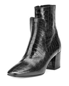 Paris+Croc-Embossed+Leather+60mm+Boot,+Black+by+Givenchy+at+Neiman+Marcus.