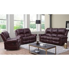 Shop for Abbyson Winston Burgundy Top Grain Leather Reclining 3 Piece Living Room Set. Get free delivery On EVERYTHING* Overstock - Your Online Furniture Shop! Get in rewards with Club O! Furniture, Leather Living Room Set, Leather Reclining Sofa, Living Room Sets, 3 Piece Living Room Set, Abbyson Living, Burgundy Sofas, Burgundy Living Room, Living Room Leather