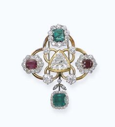 A DIAMOND, EMERALD AND RUBY BROOCH, MOUNTED BY RENÉ BOIVIN Designed as a triangular-shaped diamond to the trefoil gold openwork set with two oval-shaped ruby and old-cut diamond cluster and one rectangular-shaped emerald and old-cut diamond cluster details suspending an octagonal-shaped emerald pendant within a diamond surround, circa 1945, 6.0 cm long, with French assay mark for gold, in brown suede René Boivin case With maker's mark for René Boivin