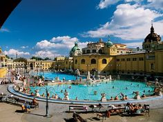 Budapest. When you visit this city, bring a swimsuit and visit these fantastic pools. The water comes from hot springs and is good for your health.
