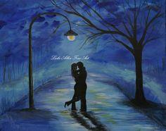 Couple In Love Couples Original Canvas Acrylic Painting Hugging Romantic Romance Loving  One Love One Lifetime Leslie Allen Fine Art via Etsy