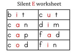 Silent E Worksheets with CVC Short Vowel Words