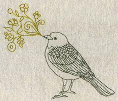 Embroidered singing bird