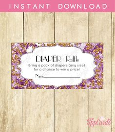 Instant Download Diaper Raffle Baby Shower Game Icebreaker New Mom To Be DIY Party Lavender Gold Sparkly Baby Game Neutral Little by TppCardS #tppcards