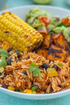 A quick, simple and delicious recipe, this Easy One Pot Mexican Rice with Black Beans and Corn is wonderful as a main course in its own right or as a side dish to all your Mexican favourites. It's gluten free, dairy free and vegan too! Dedicated to Spicy Rice Recipe, Rice Recipes, Mexican Food Recipes, Healthy Recipes, Ethnic Recipes, Healthy Foods, Copycat Recipes, Chicken Recipes, Recipies