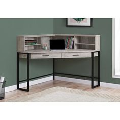 Gracie Oaks Funderburg Corner Desk with Hutch Colour: Taupe/Black Woodworking Shop Layout, Unique Woodworking, Popular Woodworking, Woodworking Furniture, Woodworking Projects Plans, Router Woodworking, Japanese Woodworking, Green Woodworking, Corner Desk With Hutch