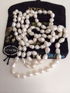 Stunning 46 Honora Culture White Baroque Pearl Strand Necklace Knotted