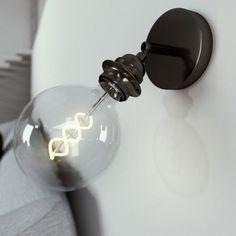 Kovové nastaviteľné svietidlo na stenu alebo strop, možnosť pripojenia tienidla, čierna perleťová farba- Interior Styling, Interior Design, Vintage Love, Light Bulb, Wall Lights, House Design, Metal, Vintage Lighting, Beautiful
