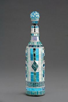 Mosaic Wine Bottle Decanter by Nancy Keating  Glass, colored mirror and van Gogh glass micro mosaic