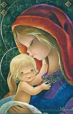 Catholic Art, Religious Art, Vintage Christmas Cards, Christmas Art, Jesus E Maria, Illustrator, Angel Artwork, Mama Mary, Sainte Marie