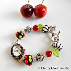 Cherry Bracelet Watch,  Rockabilly Cherries, Cherry, by Cherry Chick Jewelry