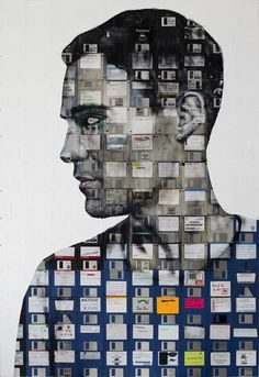 Self Portrait 5 by Nick Gentry I love the way the floppy disks are clearly used to create the image, giving a pixilated and technological feel to the piece. This is inspiring as using household objects to create the image would be interesting.