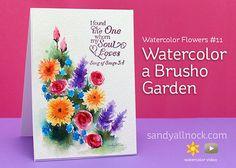 Sandy Allnock - Watercolor Brusho Garden w/video; Jan 2016  #sandyallnock