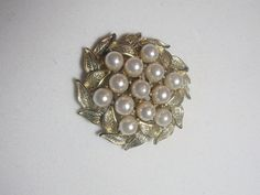 Vintage Brooch Pin Pearl cluster gold tone by purrfectstitchers, $14.00