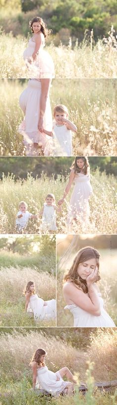 Love the photo of her with the kids. So precious. And that dress is gorgeous for a maternity shoot!