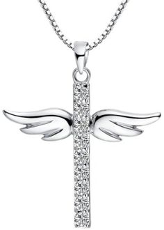 Sterling Silver Cubic Zirconia Angel Winged Cross Pendant Necklace with Box Chain 18 Inch - SP011n1 by jewelrysacred