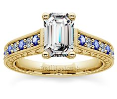 Emerald Antique Diamond & Sapphire Gemstone Engagement Ring in Yellow Gold  http://www.brilliance.com/engagement-rings/antique-diamond-sapphire-gemstone-ring-yellow-gold