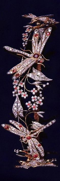 Castro Dragonfly Tiara, Italy, circa 1900; made by Chaumet; rubies, diamonds, gold.
