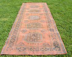 4.7' x 11' FREE SHİPPİNG vintage oushak rug orange antique faded handmade vintage rugs runners turkish oushaks turkish rug Code 1352