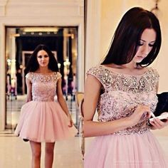Scalloped Neckline High Cap Sleeves Mini Ball Gown Short Party Gowns 2015 Fashion Girls Beaded Short Prom Dresses Formal Dress