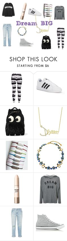 Are you a big dreamer? by amandavipul on Polyvore featuring Sundry, Current/Elliott, adidas Originals, Converse, adidas, Anya Hindmarch, Simone I. Smith, Sorrelli and Maybelline