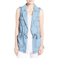 Sanctuary 'Day Trip' Denim Vest ($139) ❤ liked on Polyvore featuring outerwear, vests, sunbleached blue, sleeveless waistcoat, military style vest, blue denim vest, sleeveless vest and utility vest