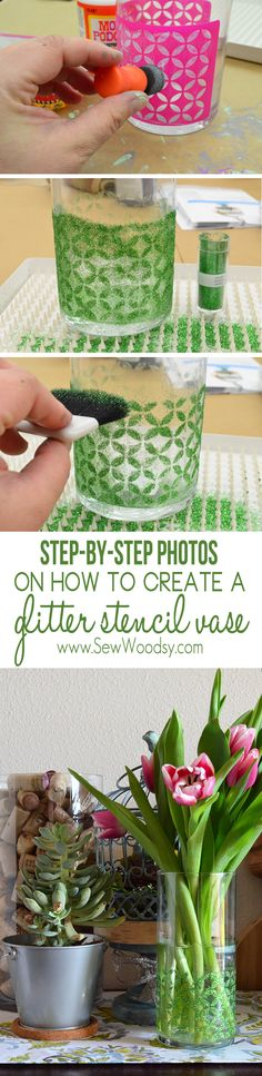 step-by-step photos on how to create a glitter stencil vase from SewWoodsy.com