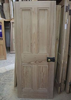 Solid 4 Panel Interior Pitch Pine Door - Stained Glass Doors Company 30x78 in