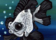 ACEO ATC Black Panda Moor Gold Fish Art Original Painting-Carla Smale #Realism